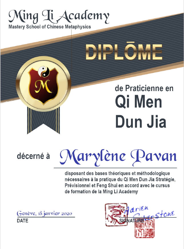 diplôme qi men dun jia QMDJ adrien silverstone