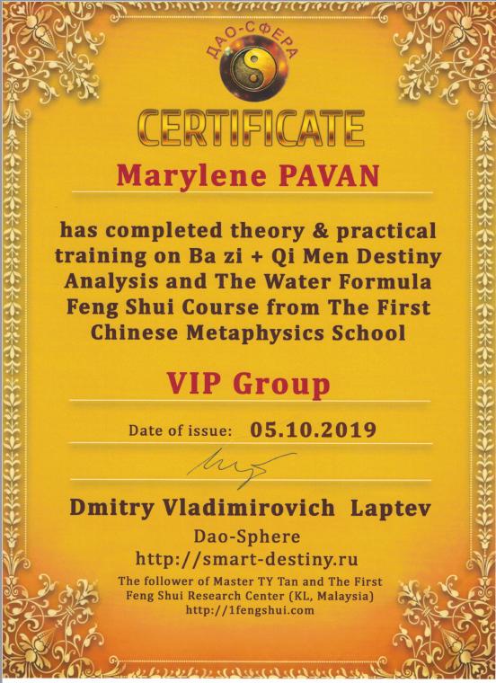 diplôme bazi qi men dun jia feng shui VIP Dmitry Vladimirovich Laptev Dao-Sphere
