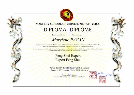 Diplôme Feng Shui Mingli academy