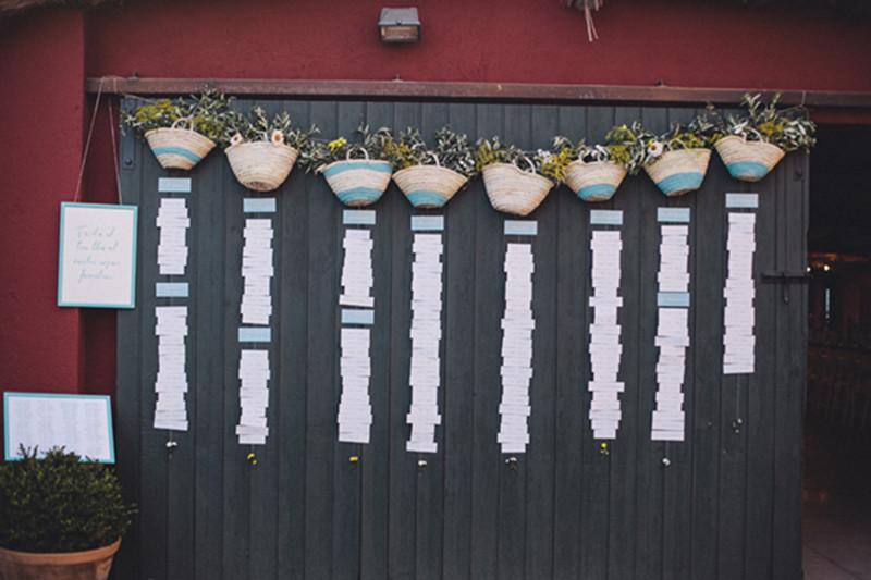 capazos pintados con chalk paint para un seating plan veraniego por detallerie