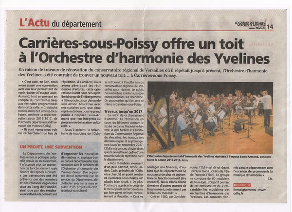 Article Courrier des yvelines 17082016 O