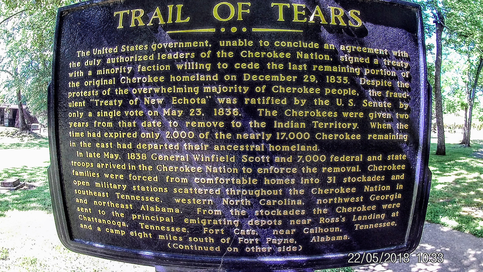 Trail of Tears Historic Marker