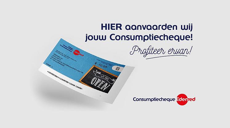 Wij aanvaarden de Edenred consumptie cheques !