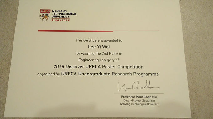 Great results from our URECA student at the 2018 Discover URECA Poster Competition