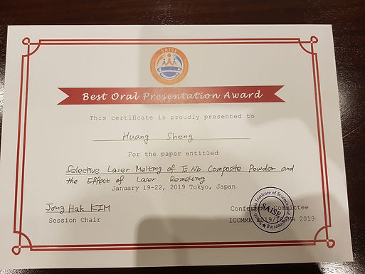 Best Oral Presentation Award at 2019 4th ICCMME