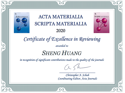 Certificate of Excellence in Reviewing awarded to Huang Sheng