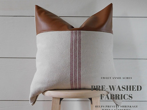 Faux Leather Pillow Cover | Burgundy 9 Stripe | Beige Fabric