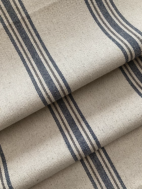 Grain Sack Fabric BY THE YARD - Blue and Gray FIVE Stripe