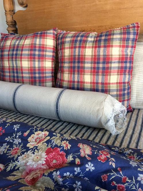 Bolster Pillow Cover - Blue 3 Stripe Grain Sack Fabric