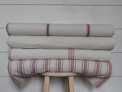 Grain Sack Fabric BY THE YARD | Burgundy Stripe | Beige Background