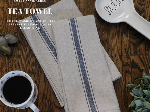 Grain Sack Tea Towel | Kitchen Towel | Blue 3 Stripe | Set of 2
