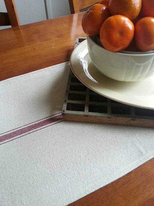 Table Runner - Burgundy 3 Stripe - Center Stripe