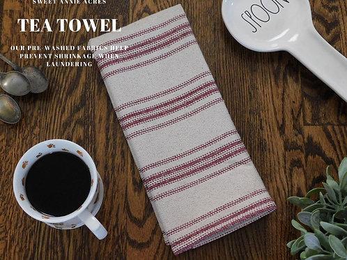 Grain Sack Tea Towel | Farmhouse Tea Towel | Kitchen Towel | Burgundy 12 Stripe