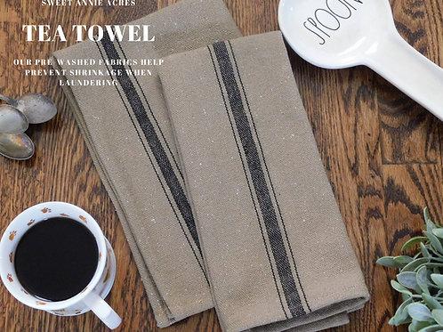 Grain Sack Tea Towel | Kitchen Towel | Black 3 Stripe | Set of 2