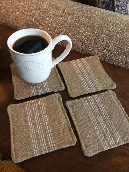 Grain Sack Coasters | White 9 Stripe | Brown Fabric | Set of 4