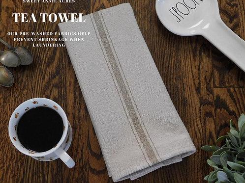 Grain Sack Tea Towel | Farmhouse Tea Towel | Kitchen Towel | Tan 3 Stripe