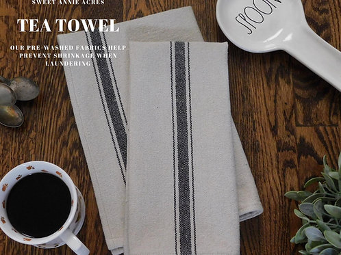 Grain Sack Tea Towel | Kitchen Towel | Black 3 Stripe | Set of 2