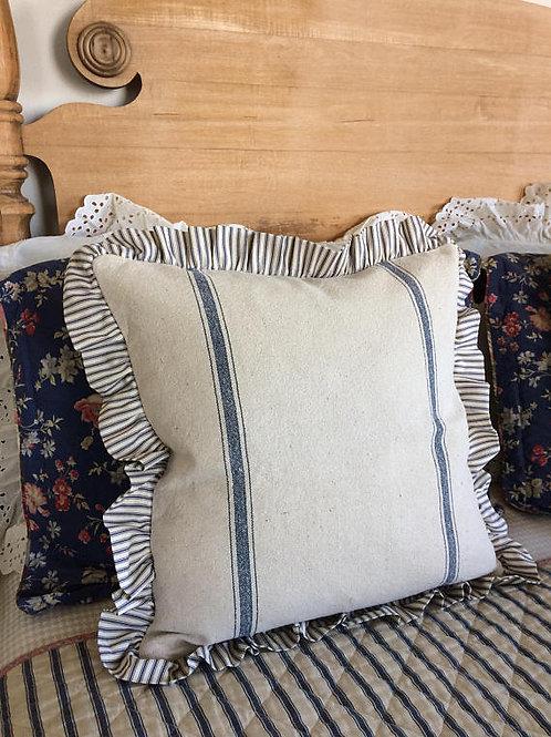 Ruffled Grain Sack Pillow Cover - Blue Stripe