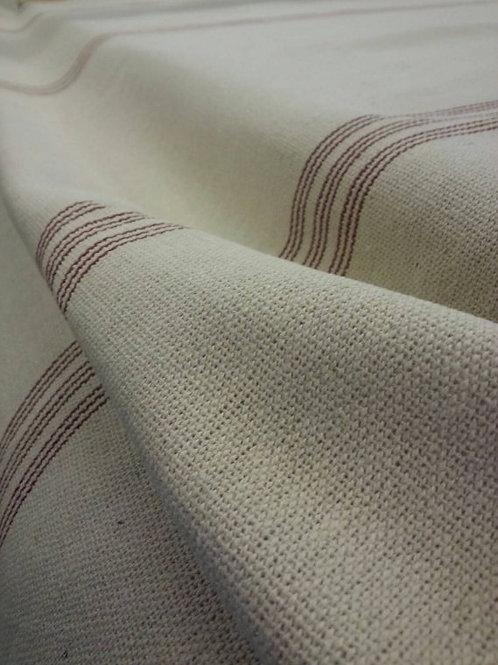 Grain Sack Fabric BY THE YARD - Burgundy NINE Stripe