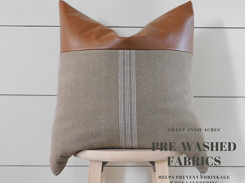 Faux Leather Pillow Cover | White 9 Stripe | Brown Fabric