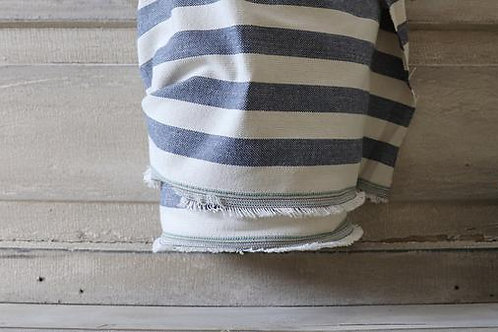 "Linen Blend Farmhouse Fabric | Wide Blue & Cream Stripe | 54"" Wide"