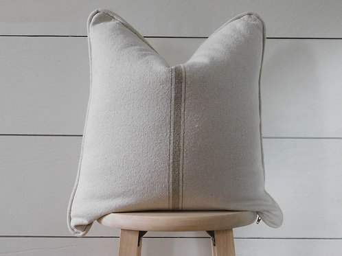 Piped Pillow Cover - Tan 3 Center Stripe | Beige Fabric