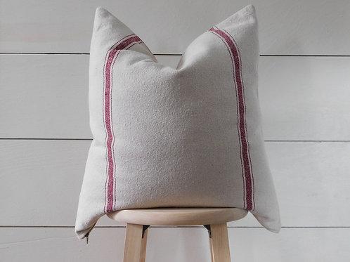 Pillow Cover - Burgundy 3 Stripe | Beige Fabric