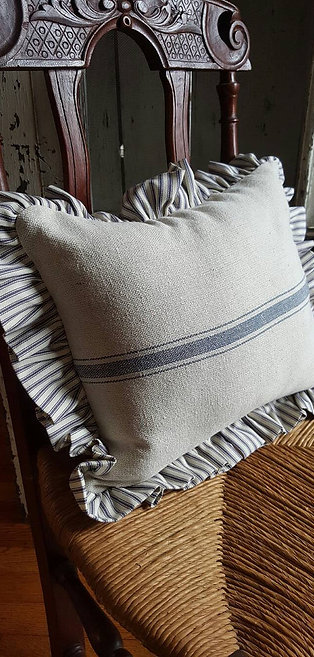 Grain Sack Pillow | Ticking Ruffle