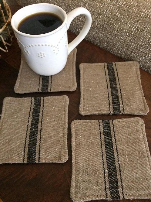 Grain Sack Coasters | Black 3 Stripe | Brown Fabric | Set of 4