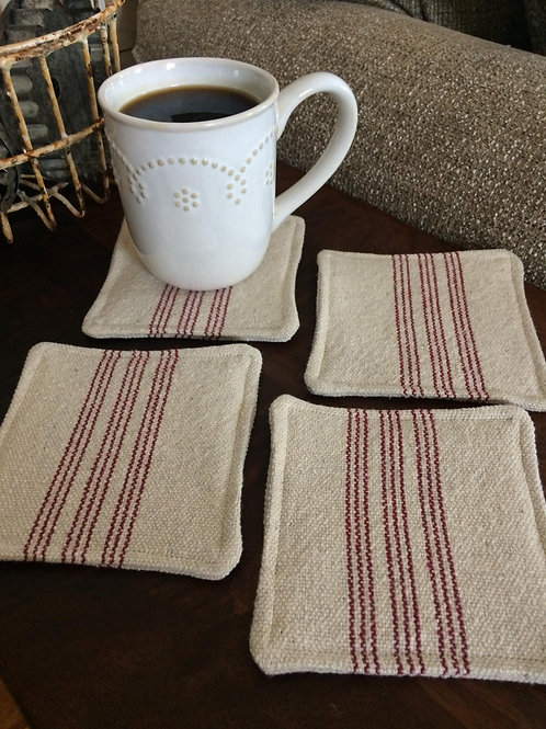 Grain Sack Coasters | Burgundy 9 Stripe | Beige Fabric | Set of 4