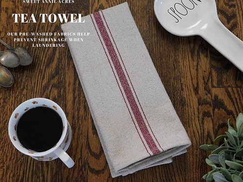Grain Sack Tea Towel | Farmhouse Tea Towel | Kitchen Towel | Burgundy 3 Stri