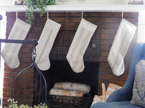 Grain Sack Christmas Stocking | Tan Stripe | Choose Your Pattern