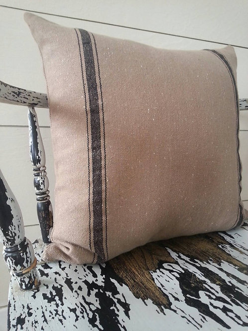 15x15 Pillow Cover - Black 3 Stripe