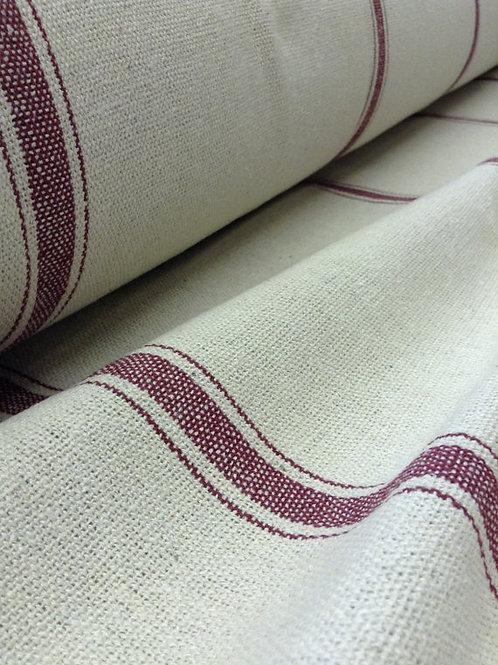 Grain Sack Fabric BY THE YARD - Burgundy Three Stripe
