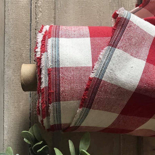 "Linen Blend Farmhouse Fabric   Red Buffalo Check   54"" Wide"