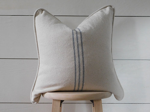 Piped Pillow Cover - Blue 9 Stripe | Beige Fabric