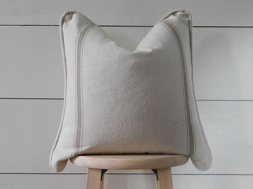 Piped Pillow Cover - Tan 3 Double Stripe | Beige Fabric