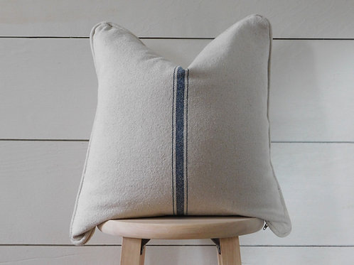 Piped Pillow Cover - Blue 3 Center Stripe | Beige Fabric