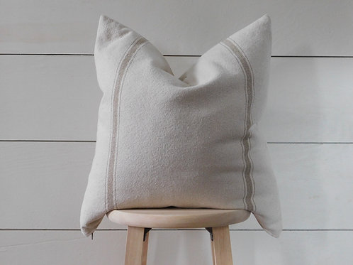 Pillow Cover - Tan 3 Stripe | Beige Fabric