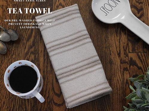 Grain Sack Tea Towel | Farmhouse Tea Towel | Kitchen Towel | Tan 12 Stripe