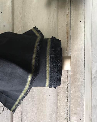 "Linen Blend Farmhouse Fabric | Solid Black | 54"" Wide"