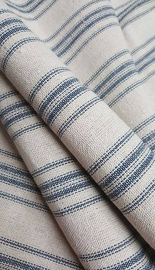 Grain Sack Fabric BY THE YARD - Blue TWELVE Stripe