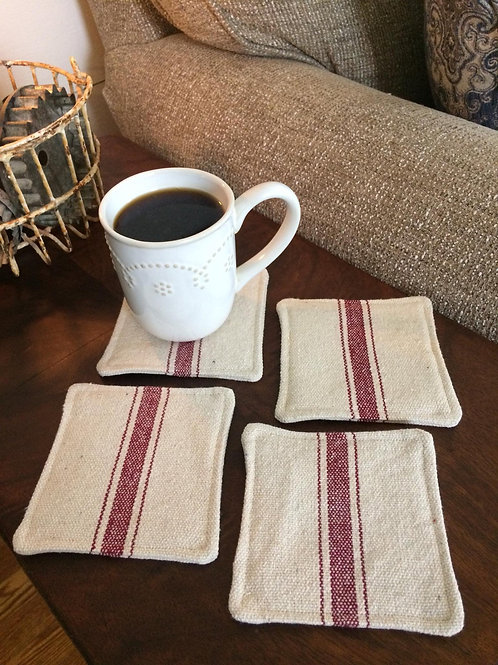 Grain Sack Coasters | Burgundy 3 Stripe | Beige Fabric | Set of 4
