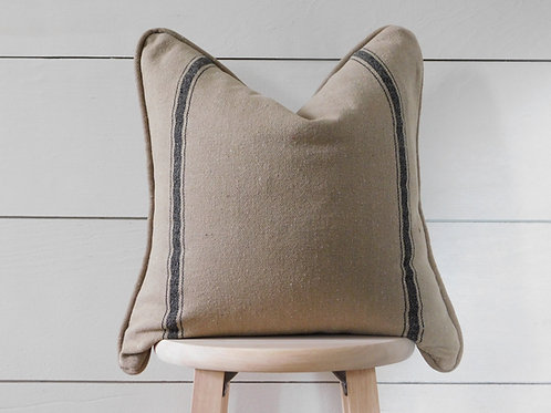 Piped Pillow Cover - Black 3 Double Stripe | Brown Fabric