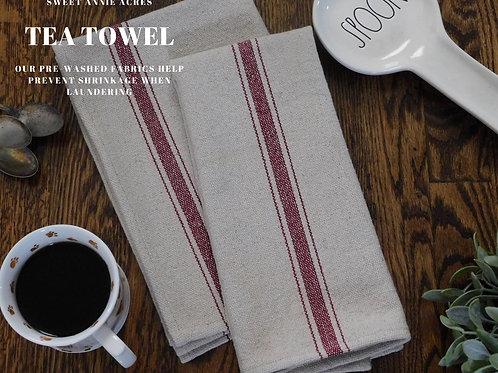 Grain Sack Tea Towel | Kitchen Towel | Burgundy 3 Stripe | Set of 2