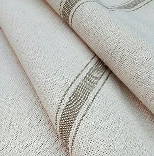 Grain Sack Fabric BY THE YARD - Tan THREE Stripe