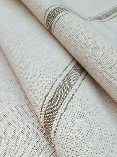 Grain Sack Fabric BY THE YARD - Tan THREE Stripe