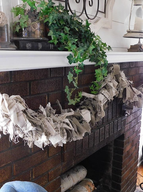 Rag Garland | Grain Sack Rag Garland | Neutral Rag Garland | 6ft