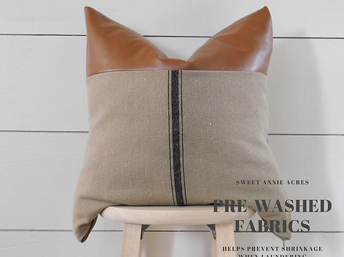 Faux Leather Pillow Cover | Black 3 Stripe | Brown Fabric