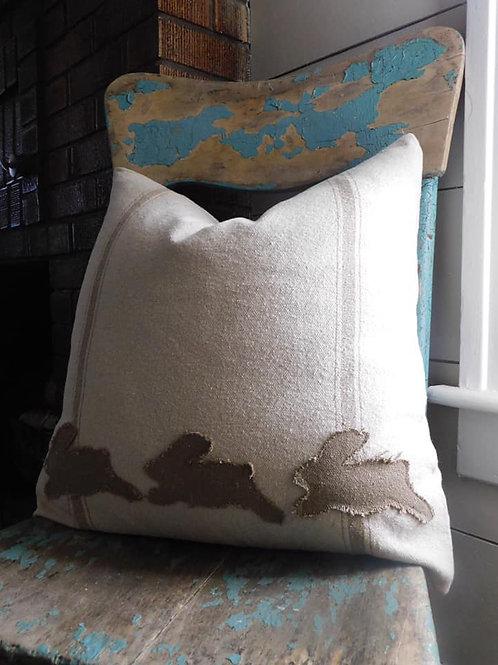 Bunny Grain Sack Pillow - 20x20 - Tan Stripe